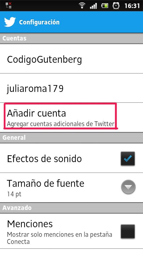 Tutorial para administrar cuentas Twitter desde Android